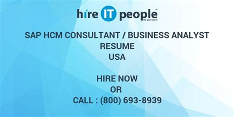 SAP HCM Consultant /Business Analyst Resume - Hire IT